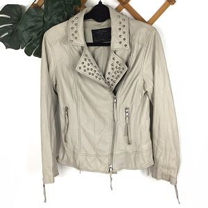 All Saints Cream Tan Leather Moto Jacket Stud 10